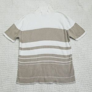 Taupe and White Ribbed Mock Neck Top